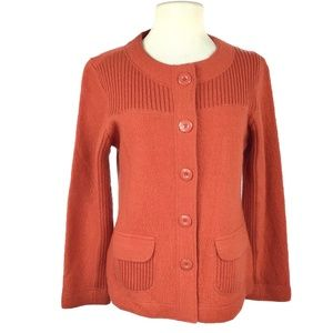 Laura Ashley 8 Button Up Boiled Wool Sweater